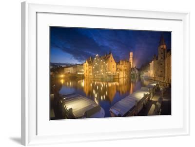 Europe,Belgium,Brugge - Rozenhoedkaai During Blue Hour-Aliaume Chapelle-Framed Photographic Print