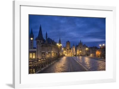 Europe, Belgium, Gent, View From The Bridge St. Michiels On The Church St. Nicolas And The Belfry-Aliaume Chapelle-Framed Photographic Print