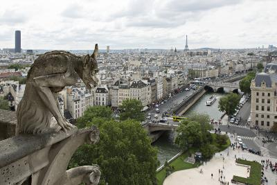 Europe, France, Paris. a Gargoyle on the Notre Dame Cathedral-Charles Sleicher-Photographic Print