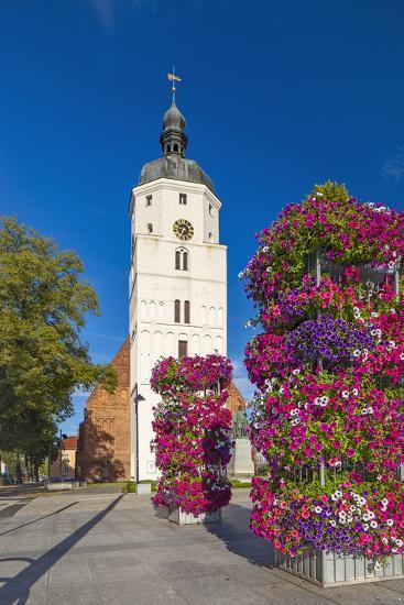 Europe, Germany, Brandenburg, Spreewald, LŸbben, Market Church, Floral Decoration-Chris Seba-Photographic Print