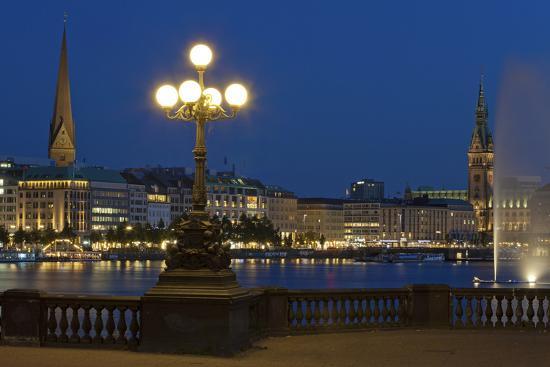 Europe, Germany, Hamburg, the Inner Alster, Evening-Chris Seba-Photographic Print