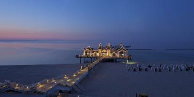 Europe, Germany, Mecklenburg-Western Pomerania, Baltic Sea Island, RŸgen, Sellin, Pier, Dusk-Chris Seba-Photographic Print
