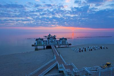 Europe, Germany, Mecklenburg-Western Pomerania, R?gen, Bathing Place Sellin, Pier, Daybreak-Chris Seba-Photographic Print