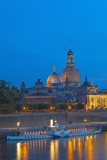 Europe, Germany, Saxony, Dresden, Bank of River Elbe, Church of Our Lady, Cruise Vessels-Chris Seba-Photographic Print