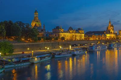 Europe, Germany, Saxony, Dresden, Elbufer (Bank of the River Elbe) by Night, Excursion Ships-Chris Seba-Photographic Print