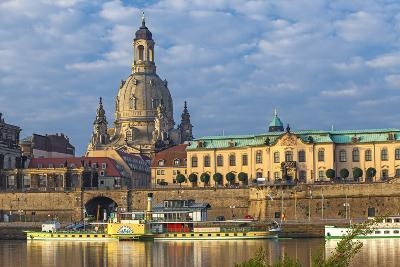 Europe, Germany, Saxony, Dresden, Elbufer (Bank of the River Elbe) with Paddlesteamer-Chris Seba-Photographic Print