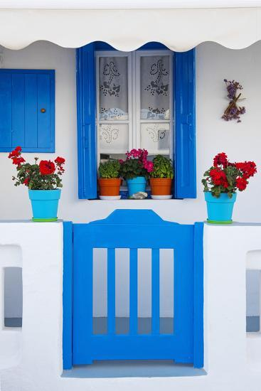 Europe, Greece, Cyclades Island,Aegean Sea, Mykonos, Myconos, Blue Gate at Private Home-Christian Heeb-Photographic Print