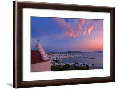Europe, Greece, Cyclades Island,Aegean Sea, Mykonos, Myconos, Mykonos Harbour at Dusk-Christian Heeb-Framed Photographic Print