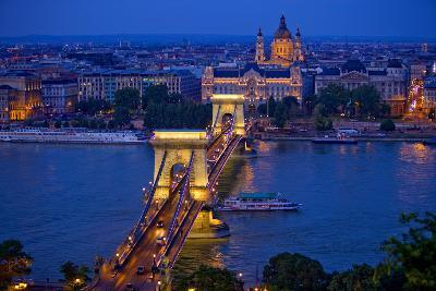 Europe, Hungary, Budapest. Chain Bridge Lit at Night-Jaynes Gallery-Photographic Print