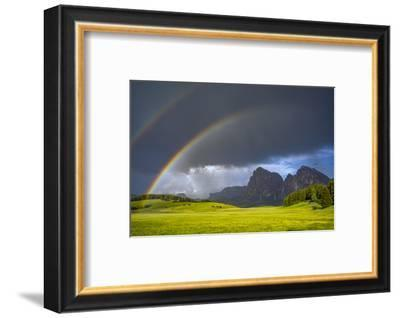 Europe, Italy, Dolomites, Alpe di Siusi. Double rainbow over mountain meadow.-Jaynes Gallery-Framed Photographic Print