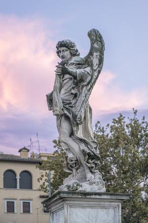 Europe, Italy, Rome, Angel Statue on Ponte Sant'Angelo at Sunset-Rob Tilley-Photographic Print