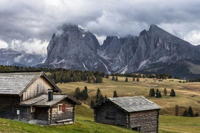 Europe, Italy, the Dolomites, South Tyrol, Seiseralm, Langkofel and Plattkofel, Alpine Huts-Gerhard Wild-Photographic Print