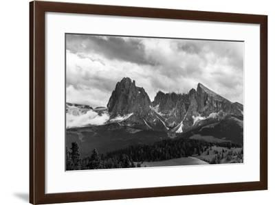 Europe, Italy, the Dolomites, South Tyrol, Seiseralm, Langkofel and Plattkofel, B/W-Gerhard Wild-Framed Photographic Print