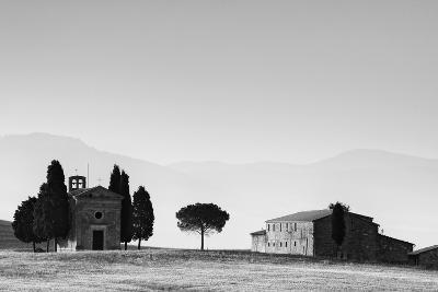 Europe, Italy, Tuscany. B&W of Vitaleta Chapel and Farmhouse-Jaynes Gallery-Photographic Print