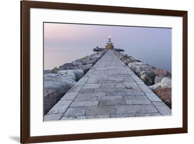 Europe, Italy, Veneto, Venice, Cavallino coast.  Lighthouse of Punta Sabbioni at dawn-ClickAlps-Framed Photographic Print