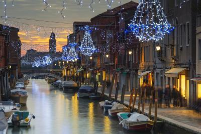 Europe, Italy, Veneto, Venice, Murano, Christmas Decoration on a Canal-Christian Kober-Photographic Print