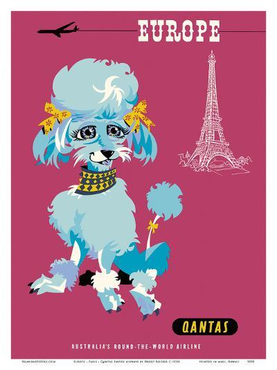Europe - Paris - Qantas Empire Airways - Blue Poodle-Harry Rogers-Art Print