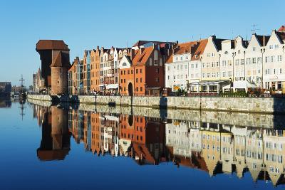 Europe, Poland, Gdansk, Canal Side Houses and Gdansk Crane-Christian Kober-Photographic Print