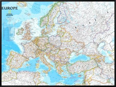 Europe Political Map--Framed Canvas Print