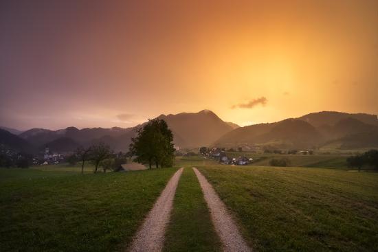 Europe, Slovenia, Skofja Loka, Setting Sun During A Thunderstorm At The Surrounding Of Skofja Loka-Aliaume Chapelle-Photographic Print