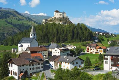 Europe, Switzerland, Graubunden, Engadine, Scuol Tarasp, Scuol Castle, (Schloss Tarasp)-Christian Kober-Photographic Print