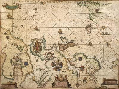 European Coast, Map on Parchment by Willem and Joan Blaeu, 1677--Giclee Print