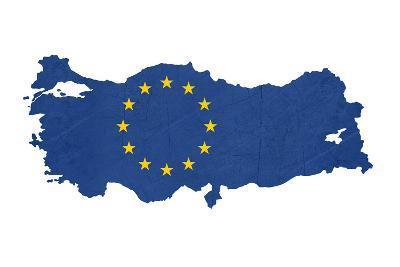 European Flag Map Of Turkey Isolated On White Background-Speedfighter-Art Print