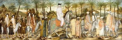 European Gentlemen in Procession of Orientals, C.1720 (Ink and W/C on Paper, Laid Down on Cotton)--Giclee Print