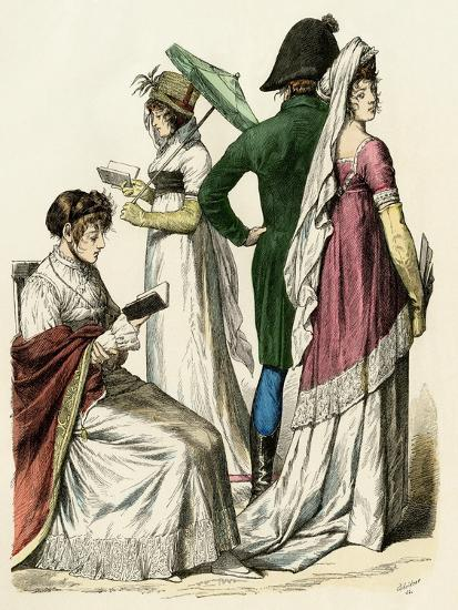 European Ladies Reading and a Couple Walking During the Early French Empire Period, 1802 to 1804--Giclee Print