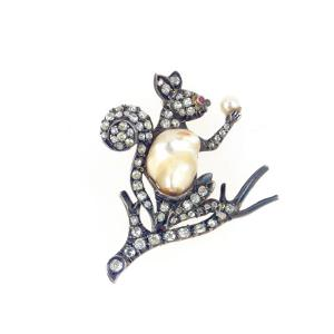 An Antique Baroque Cultured Pearl, Old European-Cut Diamond and Ruby Brooch Designed as a Squirrel by European School