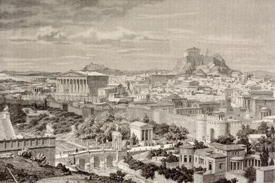 Artist's Impression of Athens, at the Time of the Emperor Hadrian, from 'El Mundo Ilustrado',…