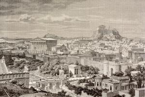Artist's Impression of Athens, at the Time of the Emperor Hadrian, from 'El Mundo Ilustrado',… by European School