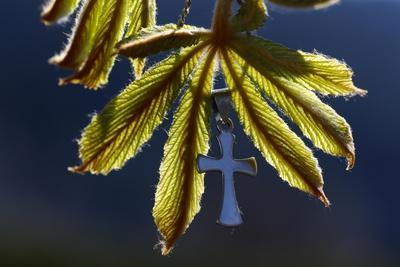 Pendant with cross on a young green chestnut leaf at springtime