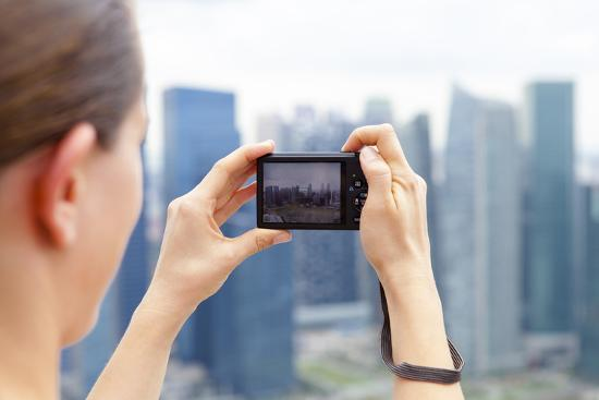 European Tourist Taking a Picture of Singapore Skyline-Harry Marx-Photographic Print