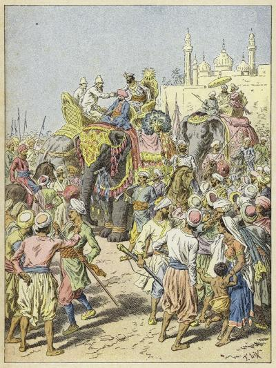 European Travellers Being Received by a Raja, India--Giclee Print
