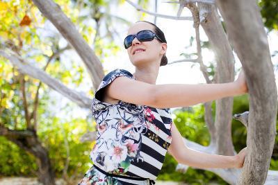 European Woman, Seychelles, Praslin, Beach Photo Shooting, Sunrise, Fashion-Harry Marx-Photographic Print