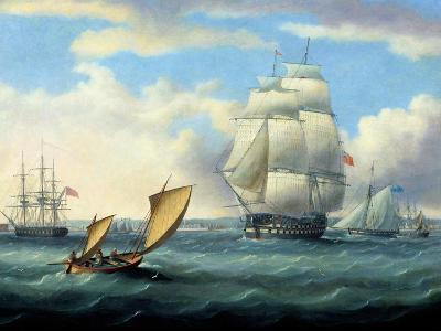 Euryalus (Capt. Blackwood), Thunderer and Ajax Leaving Plymouth to the Battle of Trafalgar (1805)-Thomas Buttersworth-Giclee Print