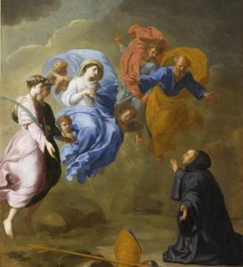 Apparition de la Vierge accompagnée de sainte Agnès et de sainte Thècle à saint Martin by Eustache Le Sueur