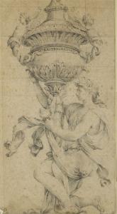 Dessin ornemental, une femme un genou à terre, tient un vase fermé et sculpté by Eustache Le Sueur