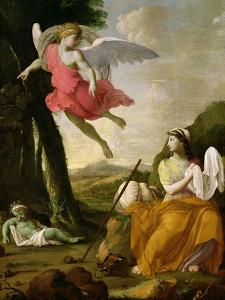 Hagar and Ishmael Rescued by the Angel, c.1648 by Eustache Le Sueur