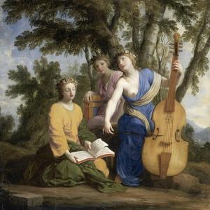 Melpomène, Erato et Polymnie by Eustache Le Sueur