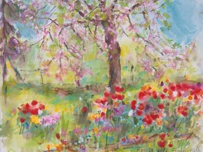 Tulips under Blossoming Appletree, 1991 by Eva Fischer-Keller