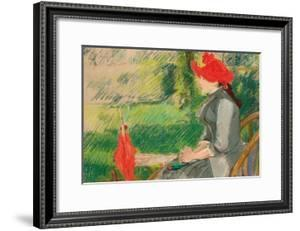 Reading in the Garden; or Woman in Red Hat, C. 1880-1882 (Pastel and Charcoal on Canvas) by Eva Gonzales