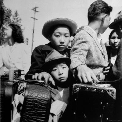 Evacuees of Japan Awaiting Turn for Baggage Inspection upon Arrival at Assembly Center During WWII-Dorothea Lange-Photographic Print