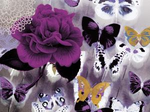 Butterfly Collage Magenta by Evangeline Taylor