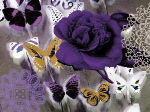 Butterfly Collage Purple by Evangeline Taylor