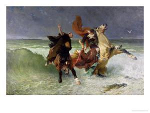 The Flight of Gradlon Mawr circa 1884 by Evariste Vital Luminais