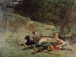The Rest of a Hunter with Dogs, C1842-1896 by Evariste Vital Luminais