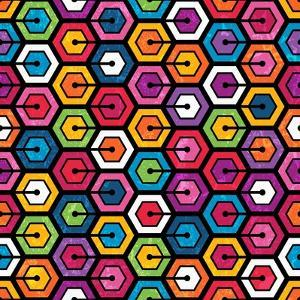 Colorful Geometric Pattern With Hexagons by evdakovka