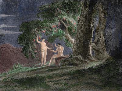 Eve Gives Adam the Forbidden Fruit-John Martin-Giclee Print